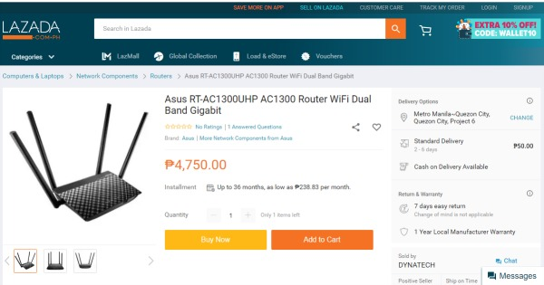 Lazada Asus AC1300UHP Router